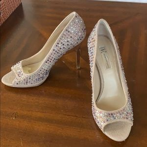 INC multi colored jeweled heels